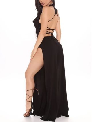 Sleeveless Round Neck Open Back Lace-up Deep Split Floor Length Jumpsuits