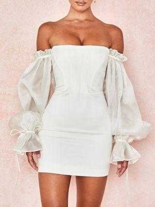 White Dress Black Dress Off the Shoulder Ruffled Long Sleeve Open Back Mini Party Club Dresses