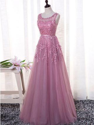 Plus Size Dress Homecoming Dress Sleeveless Round Neck Embroidery Gauze Stitching Maxi Bridesmaid Evening Dresses