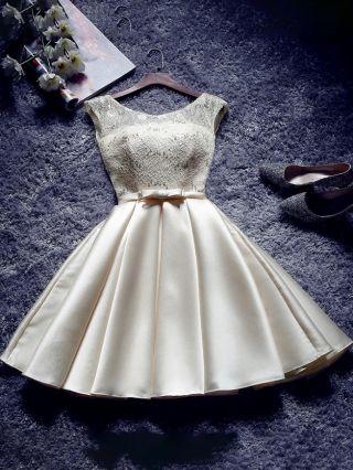 Homecoming Dress Champagne Dress Lace Sequins Stitching Satin Bowknot Short Graduation Dress Bridesmaid Evening Dresses