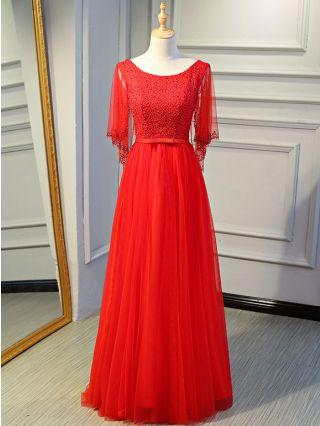 Red Dress Rhinestone Gauze Stitching Half-sleeve Round Neck Backless Lace-up Maxi Bridesmaid Evening Dresses