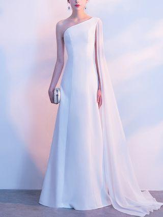 Wedding Guest Dress White Dress Black Dress One Shoulder Sleeveless Cape Elegant Maxi Evening Prom Dresses