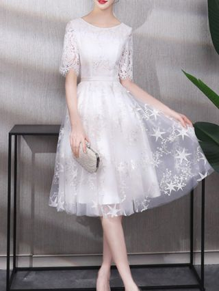 Wedding Guest Dress White Dress Black Dress Lace Gauze Embroidery Homecoming Dress Midi Party Evening Dresses