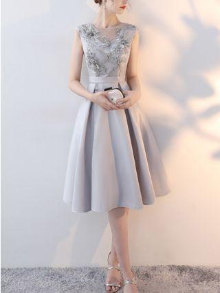 Wedding Guest Dress Grey Dress Sleeveless Round Neck Embroidery Beading Homecoming Dress Backless Lace-up Gauze Bridesmaid Evening Dresses