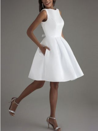 Wedding Guest Dress White Dress Solid Color Open Back Bowknot Homecoming Dress Short Party Evening Dresses