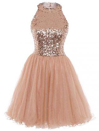 Rose Gold Homecoming Dress Halter Sleeveless Open Back Sequins Gauze Graduation Dress Short Evening Dresses