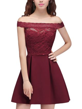 Burgundy Dress Off the Shoulder Lace Stitching Homecoming Dress Hollow Short Bridesmaid Evening Dresses