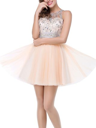 Champagne Dress Homecoming Dress Sleeveless Round Neck Rhinestone Gauze See-through Short Bridesmaid Evening Dresses