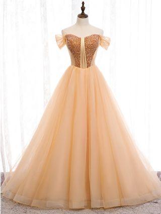 Homecoming Dress Gold Dress Off the Shoulder Short Sleeve Sequin Rhinestone Gauze Stitching Maxi Evening Prom Dresses