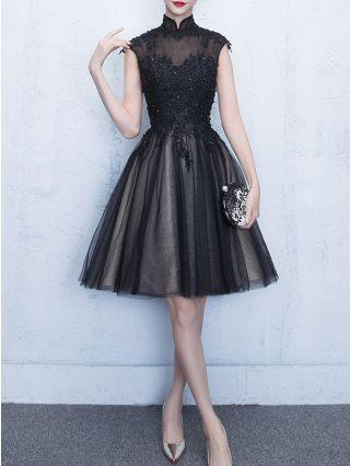 Homecoming Dress Black Dress Sleeveless Stand Collar Lace Beading Gauze Stitching Graduation Dress Short Party Evening Dresses