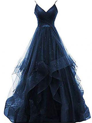 Homecoming Dress Dark Blue Dress Slip V-Neck Gauze Multi-layered Irregular Maxi Evening Prom Dresses