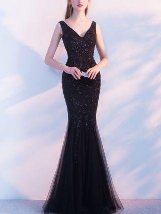 Wedding Guest Dress Black Dress Sleeveless V-Neck Open Back Lace Sequins Maxi Mermaid Evening Prom Dresses