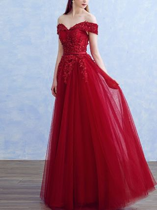 Homecoming Dress Korean Off the Shoulder Open Back Lace Beading Gauze Stitching Maxi Bridesmaid Evening Dresses