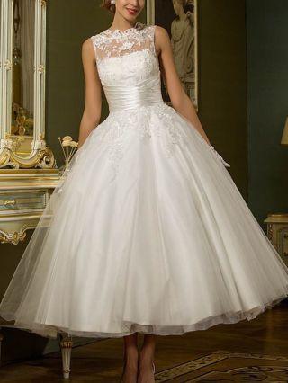 White Tutu Dress Sleeveless Round Neck Lace Gauze Stitching Homecoming Dress Long Wedding Evening Dresses