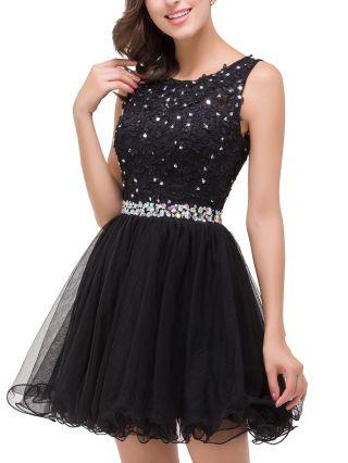 Homecoming Dress Black Dress Sleeveless Round Neck Lace Rhinestone Gauze Short Bridesmaid Evening Tutu Dresses