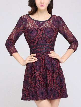 Homecoming Dress Three Quarters Sleeve Round Neck Lace Hollow Short Party Evening Dresses