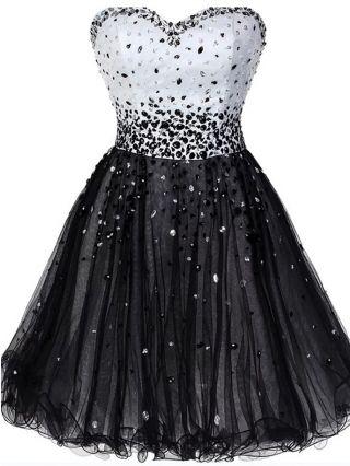 White Black Tutu Homecoming Dress Tube Top Handmade Rhinestone Gauze Stitching Short Party Evening Dresses