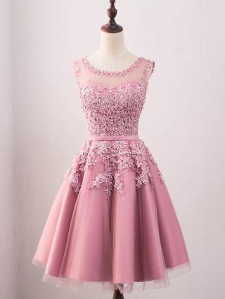Homecoming Dress Lace Beading Gauze Stitching Graduation Dress Sleeveless Round Neck Short Bridesmaid Evening Dresses