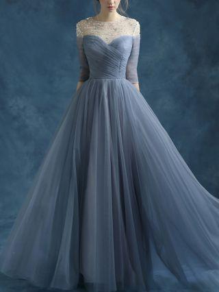 Homecoming Dress Blue Grey Dress Rhinestone Three Quarters Sleeve Tube Top Gauze Stitching Maxi Bridesmaid Evening Dresses