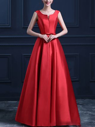 Satin Bridesmaid Dress Red Dress Sleeveless V-Neck Bowknot Homecoming Dress Solid Color Maxi Evening Prom Dresses