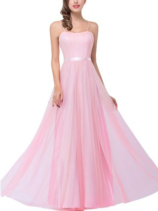 Pink Dress Slip Tube Top Open Back Homecoming Dress Solid Color Belted Gauze Maxi Bridesmaid Evening Dresses