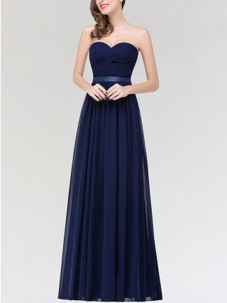 Tube Top Chiffon Homecoming Dress Navy Dress Solid Color Belted Maxi Bridesmaid Banquet Evening Dresses