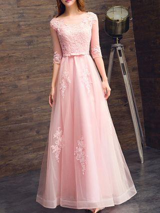 Homecoming Dress Pink Dress Three Quarters Sleeve Round Neck Lace Gauze Bowknot See-through Maxi Bridesmaid Evening Dresses
