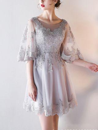 Homecoming Dress Grey Dress Half-sleeve Lace Gauze See-through Round Neck Graduation Dress Short Bridesmaid Evening Dresses