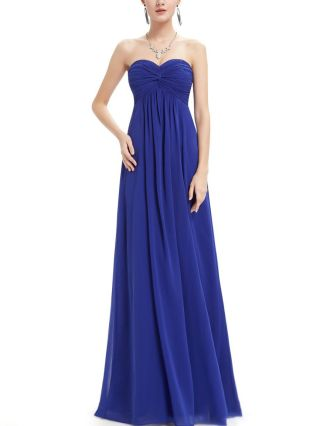 Tube Top Bridesmaid Evening Dress Strapless Open Back Solid Color Chiffon Maxi Homecoming Dresses