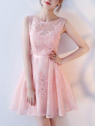 Homecoming Dress Graduation Dress Pink Dress Sleeveless Round Neck Lace Beading Belted Short Bridesmaid Evening Dresses