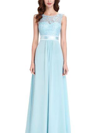 Lace Chiffon Stitching Homecoming Dress Sky Blue Dres Sleeveless Round Neck Belted Maxi Bridesmaid Evening Dresses