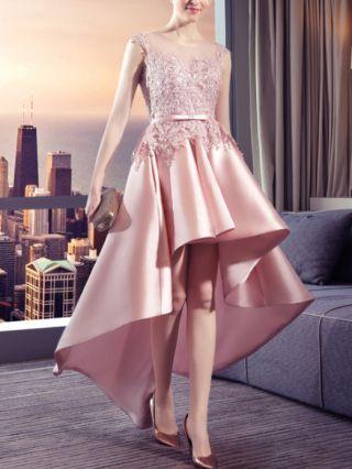 Homecoming Dress Pink Dress Lace Gauze See-through Sleeveless Bowknot Satin Stitching Irregular High-low Bridesmaid Evening Dresses