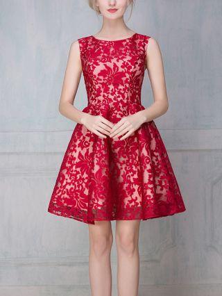 Homecoming Dress Red Dress Sleeveless Round Neck Lace Gauze Stitching Short Bridesmaid Evening Dresses