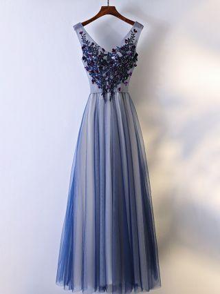 Korean Fashion Homecoming Dress Sleeveless V-Neck Lace Rhinestone Sequins Gauze Stitching Maxi Bridesmaid Evening Dresses
