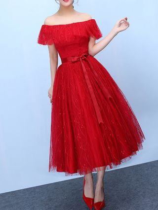 Homecoming Dress Red Dress Off the Shoulder Lace Gauze Stitching Belted Bridesmaid Evening Long Dresses