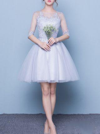 Homecoming Dress Grey Dress Lace Gauze Stitching Three Quarters Sleeve Round Neck Short Bridesmaid Evening Dresses