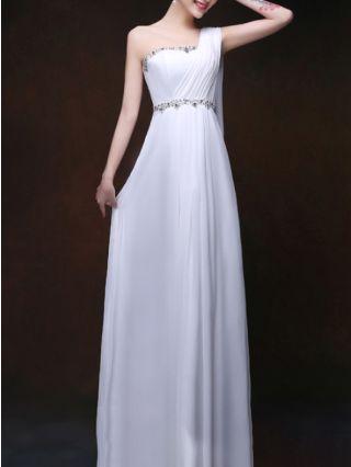 Homecoming Dress White Dress One Shoulder Sleeveless Rhinestone Tube Top Irregular Chiffon Maxi Bridesmaid Evening Dresses
