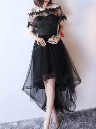 Black Dress Off the Shoulder Tube Top Sleeveless Cape Homecoming Dress Lace Gauze Stitching High-low Bridesmaid Evening Dresses