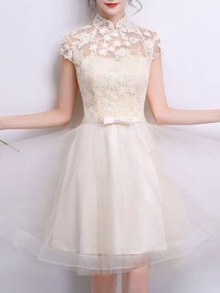 Korean Bridesmaid Dress Stand Collar Short Sleeve Lace Gauze See-through Bowknot Short Homecoming Dress Evening Dresses