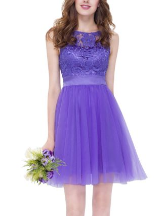 Homecoming Dress Purple Dress Sleeveless Round Neck Lace Chiffon Stitching Short Bridesmaid Evening Tutu Dresses