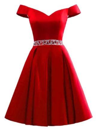 Red Dress Off the Shoulder Short Sleeve V-Neck Rhinestone Homecoming Dress Satin Banquet Evening Dresses