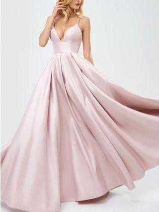 Pink Dress Red Dress Slip V-Neck Open Back Satin Homecoming Dress Solid Color Maxi Evening Prom Dresses