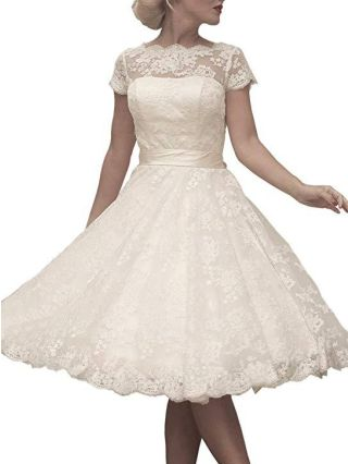 Lace Homecoming Dress White Dress Short Sleeve Round Neck See-through Vintage Bridesmaid Evening Dresses