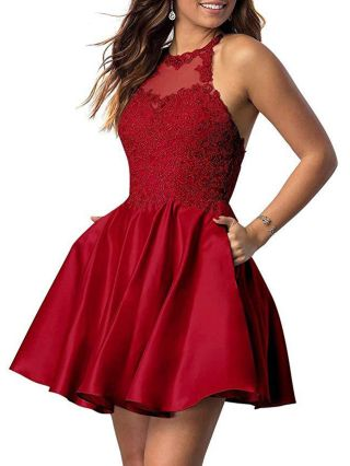 Homecoming Dress Burgundy Dress Lace Sequins Stitching Halter Sleeveless Open Back Short Party Evening Dresses