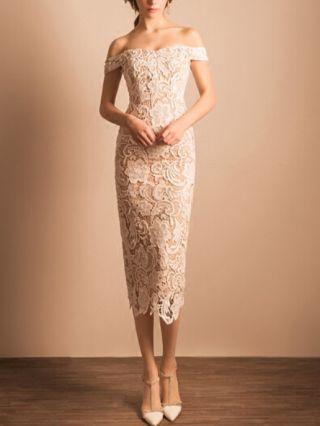 Wedding Guest Dress Beige Dress Off the Shoulder Short Sleeve Lace Homecoming Dress Split Midi Bridesmaid Party Evening Dresses