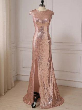 Wedding Guest Dress Pink Dress Sequins Short Sleeve Round Neck Maxi Split Evening Prom Dresses