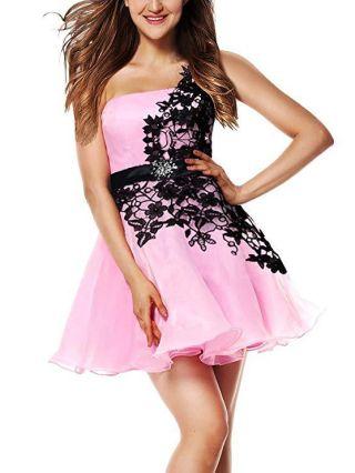 Homecoming Dress Pink Dress One Shoulder Lace Gauze Stitching Open Back Graduation Dress Short Bridesmaid Evening Dresses