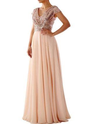 Homecoming Dress Black Dress Short Sleeve V-Neck Sequins Chiffon Maxi Bridesmaid Evening Dresses