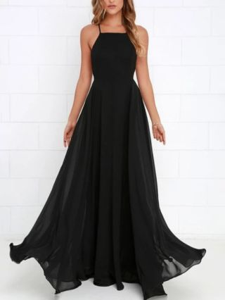 Black Dress Straps Open Back Criss-cross Beach Holiday Dress Solid Color Maxi Evening Prom Dresses