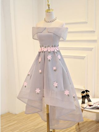 Homecoming Dress Grey Dress Black Dress Off the Shoulder Flowers High-low Bridesmaid Evening Dresses